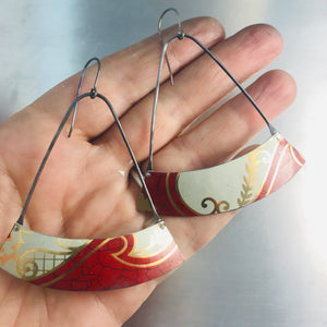 Crimson & Cream Wide Arc Zero Waste Tin Earrings