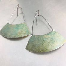 Load image into Gallery viewer, Pale Verdigris Large Fan Recycled Tin Earrings
