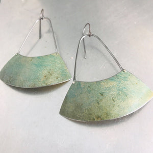 Pale Verdigris Large Fan Recycled Tin Earrings