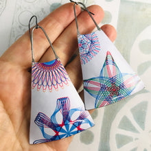 Load image into Gallery viewer, Spirograph Zero Waste Tin Long Fans Earrings