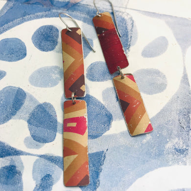 Mixed Pinks & Maroon Rectangles Recycled Tin Earrings
