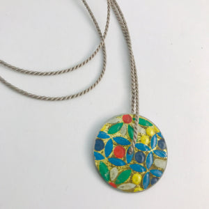 Vintage Flower Mosaic & Purple Circle Upcycled Tin Flip-Flop Necklace