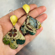 Load image into Gallery viewer, Gold & Vintage Flowers Trefoil Upcyled Tin Earrings