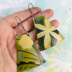 Big Happy Flowers Upcycled Tin Long Fans Earrings