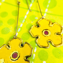 Load image into Gallery viewer, Yellow Vintage Stylized Flowers Recycled Tin Earrings