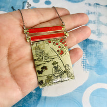 Load image into Gallery viewer, Japanese Fishermen Upcycled Tin Necklace Tin Anniversary Gift