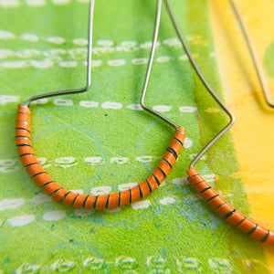 Quirky Orange Spiraled Tin Earrings