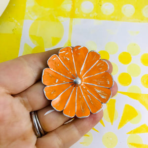 Flower Blossom Upcycled Tin Brooch