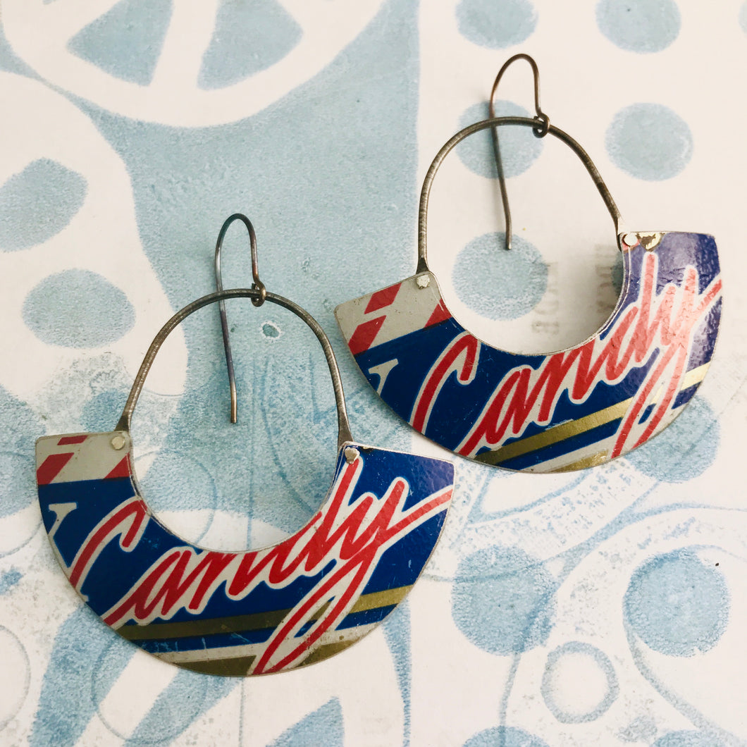 Candy Script Half Moon Recycled Tin Earrings