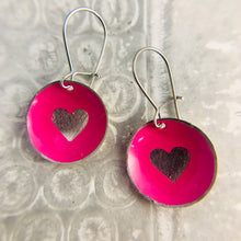 Load image into Gallery viewer, Etched Silver Heart on Hot Pink Tiny Dot Tin Earrings