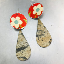 Load image into Gallery viewer, Vintage White Flowers on Red Long Teardrops Tin Earrings