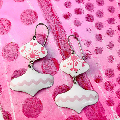 Pink and White Rex Ray Zero Waste Tin Earrings