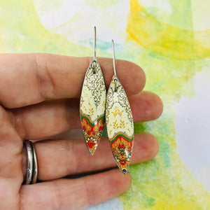 Pale Yellow Kilim Small Long Pods Upcycled Tin Leaf Earrings