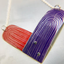 Load image into Gallery viewer, RESERVED Scarlet and Royal Purple Etched Tin Heart Recycled Necklace