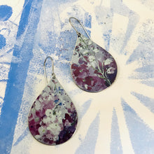 Load image into Gallery viewer, Purple & White Lupines Upcycled Teardrop Tin Earrings