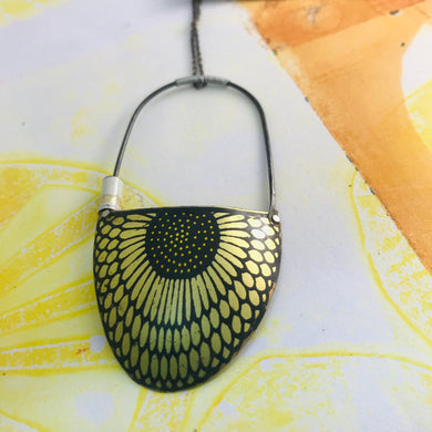 Golden Sunflower on Black Recycled Tin Necklace