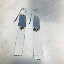 Load image into Gallery viewer, Rustic Matte Gunmetal & White Zero Waste Tin Earrings