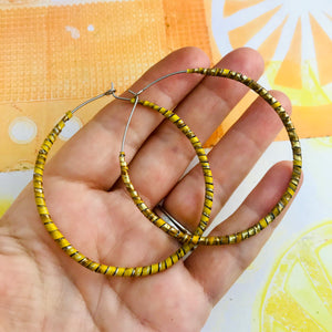 Spiraled Tin Big Pale Orange Hoop Earrings
