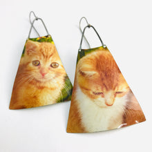 Load image into Gallery viewer, Melancholy Kittens Upcycled Vintage Tin Long Fans Earrings