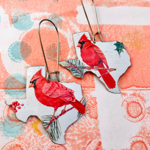 Cardinals Texas Upcycled Tin Earrings