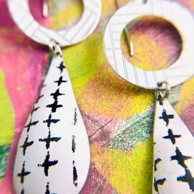 Mixed Black & White Patterns Upcycled Vintage Tin Long Teardrops Earrings