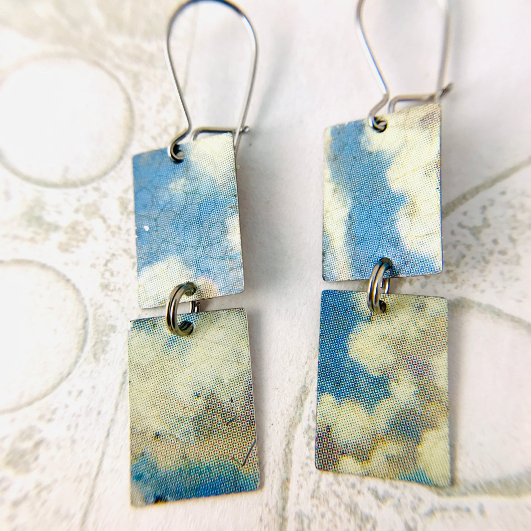 Cloudy Day Upcycled Rectangles Tin Earrings