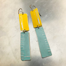 Load image into Gallery viewer, Rustic Matte Aqua & Yellow Zero Waste Tin Earrings
