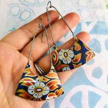 Load image into Gallery viewer, Fiery Leaves on Deep Cobalt Recycled Tin Earrings