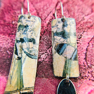 Persian Art Rectangles Recycled Tin Earrings