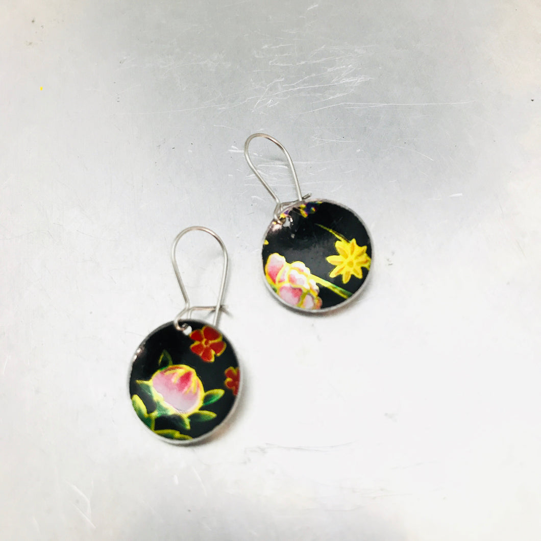 Vintage Flowers on Midnight Tiny Dot Tin Earrings