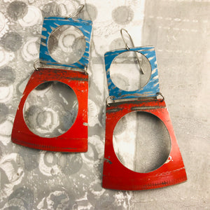 Rustic Scarlet and Sky Upcycled Tin Earrings