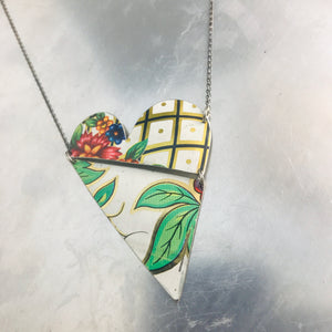 Vintage Leaves and Lattice Angled Tin Heart Recycled Necklace