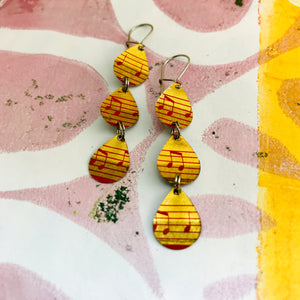 Musical Notes Tri-Teardrop Upcycled Tin Earrings