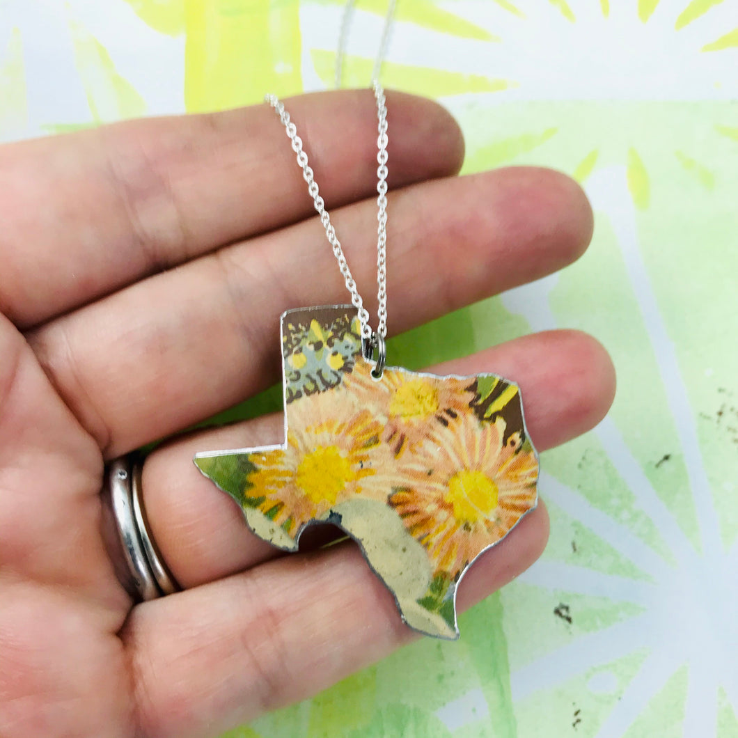 Wildflowers Texas Recycled Tin Necklace