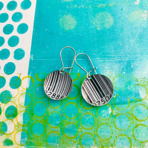 Black & White Barcode Tiny Dot Upcycled Tin Earrings