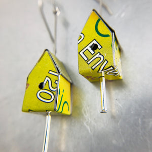 Spring Green & Typography Tiny Tin Birdhouse Earrings