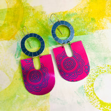 Load image into Gallery viewer, Shimmery Bright Pink Chunky Horseshoes Zero Waste Tin Earrings