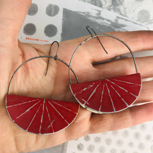 Red Half Moon Saddle Zero Waste Tin Earrings