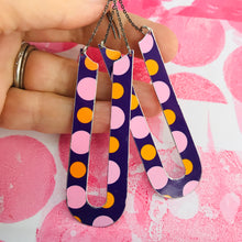 Load image into Gallery viewer, Long Purple Dotty Horseshoes Zero Waste Tin Earrings