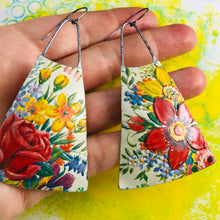 Load image into Gallery viewer, Vintage Bouquet Zero Waste Tin Long Fans Earrings
