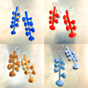Medium Blue Matisse Leaves Upcyled Tin Earrings