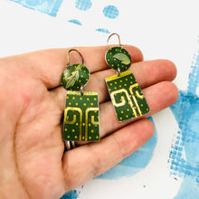 Load image into Gallery viewer, Green Polka Dot Oval & Rectangle Tin Earrings