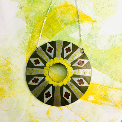 Diamond Circle Upcycled Tin Necklace