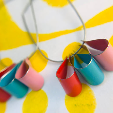 Cerise, Aqua & Pink Multi U Hoop Upcycled Tin Earrings