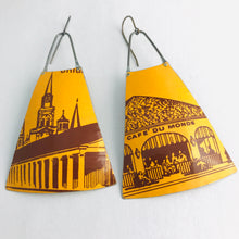 Load image into Gallery viewer, Cafe du Monde Coffee Wide Fan Upcycled Vintage Tin Earrings