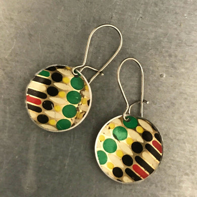 Vintage Dot Pattern Upcycled Tiny Basin Earrings 20th Birthday Gift