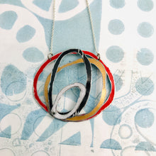 Load image into Gallery viewer, Scarlet, Black, Snow & Gold Scribbles Upcycled Tin Necklace