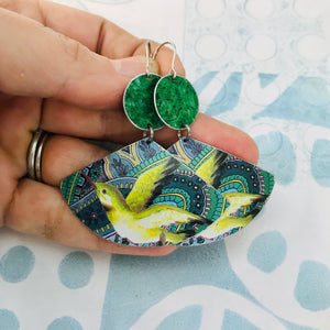 Green Hummingbirds Upcycled Tin Earrings