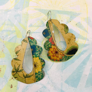 Vintage Flowers Wavy Upcycled Tin Earrings