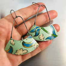 Load image into Gallery viewer, Clouds on Pale Seafoam Large Fan Recycled Tin Earrings by Christine Terrell for adaptive reuse jewelry